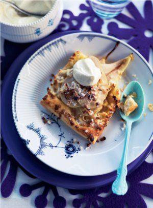 Pæretærte med vaniljerørt cremefraiche