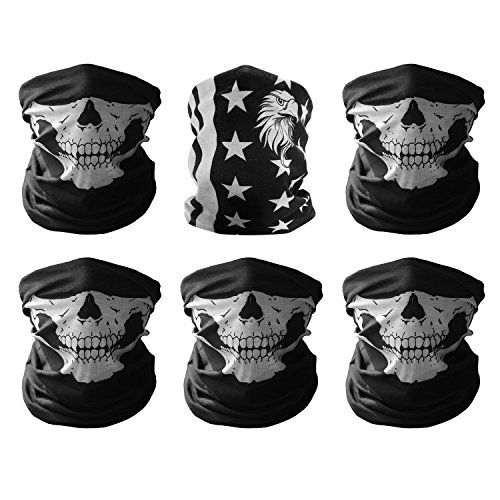 GAMPRO Universal Breathable Seamless Tube Skull Face Mask, Dust-proof Motorcycle Bicycle Bike Face Mask for Cycling, Hiking, Camping, Climbing, Fishing, Hunting, Jogging, Motorcycling (5Black&1Flag). For product info go to:  https://www.caraccessoriesonlinemarket.com/gampro-universal-breathable-seamless-tube-skull-face-mask-dust-proof-motorcycle-bicycle-bike-face-mask-for-cycling-hiking-camping-climbing-fishing-hunting-jogging-motorcycling-5black1fla/