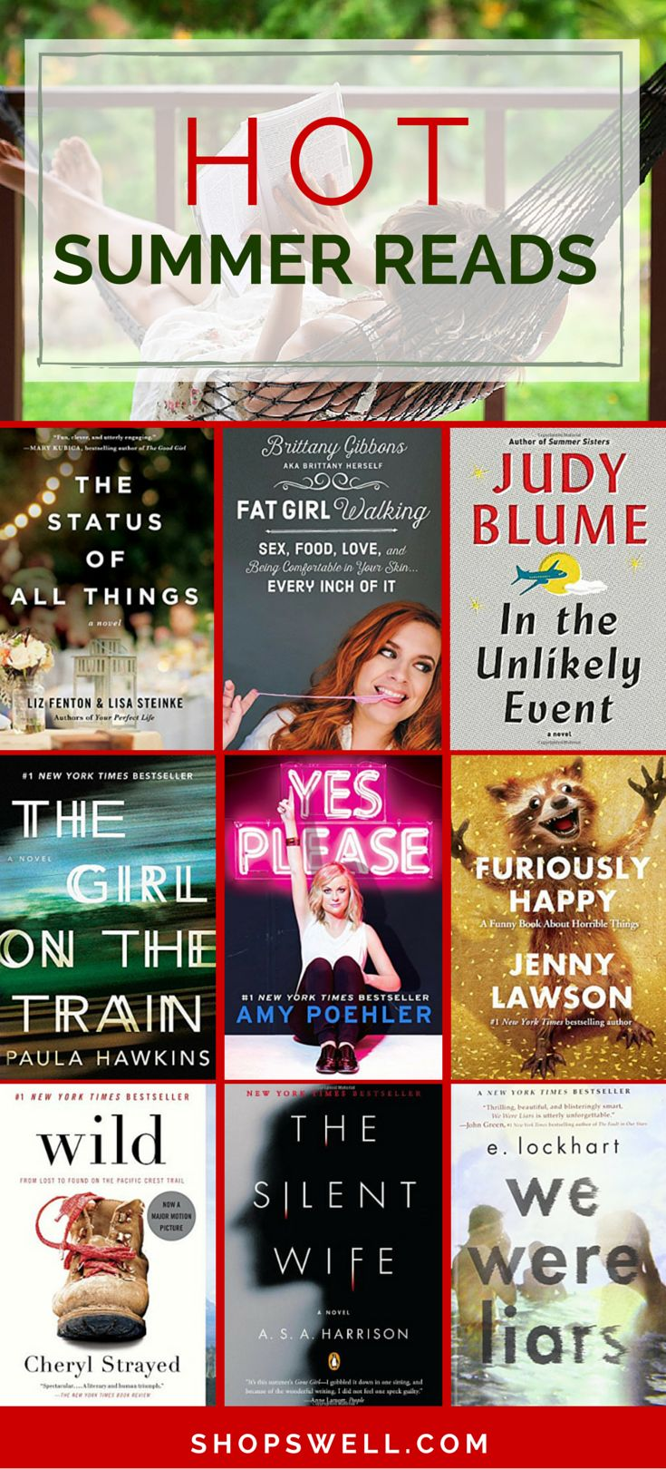 These are this summer's hottest books from some famous authors, up and coming writers and bloggers you have come to love. Great reading list shared by @happyhealthyhip.