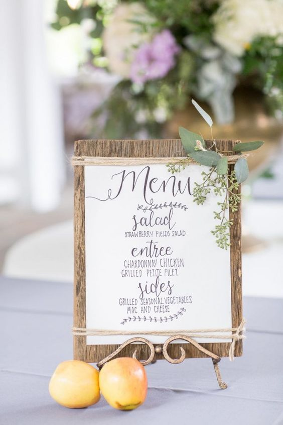 French farm menu style hand lettered and totally steal worthy! #cedarwoodweddings | Cedarwood Weddings
