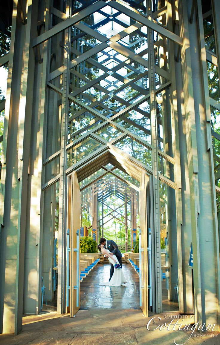 wedding at the glass chapel in eureka springs arkansas doors open