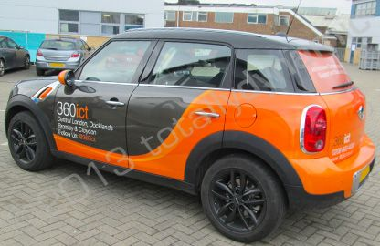 MINI Countryman part-wrapped in a printed vehicle wrap design by Totally Dynamic…