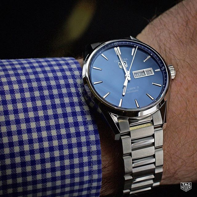 """""""Big thanks to our friend Angus Davies from @escapementuk for this amazing review of the TAG Heuer Carrera Calibre 5 Day-Date! (Link in our bio) #TAGHeuerCarrera #Calibre5 #Wristshot #Menstyle #Reloj #Instawatch #TAGHeuer #DailyWatch #DayDate #Blue"""" Photo taken by @tagheuer on Instagram, pinned via the InstaPin iOS App! http://www.instapinapp.com (09/15/2015)"""