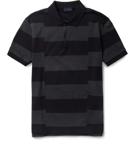 LanvinSplit-Stripe Cotton-Piqué Polo Shirt