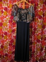 70's flowing sheer floral overlay maxi dress - SOLD