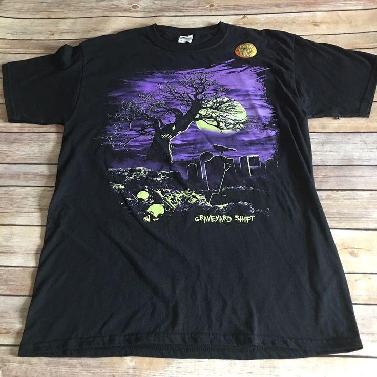 Glow In The Dark Graphic T-Shirt Graveyard Shift Sz M Black Skulls Cemetery  | eBay