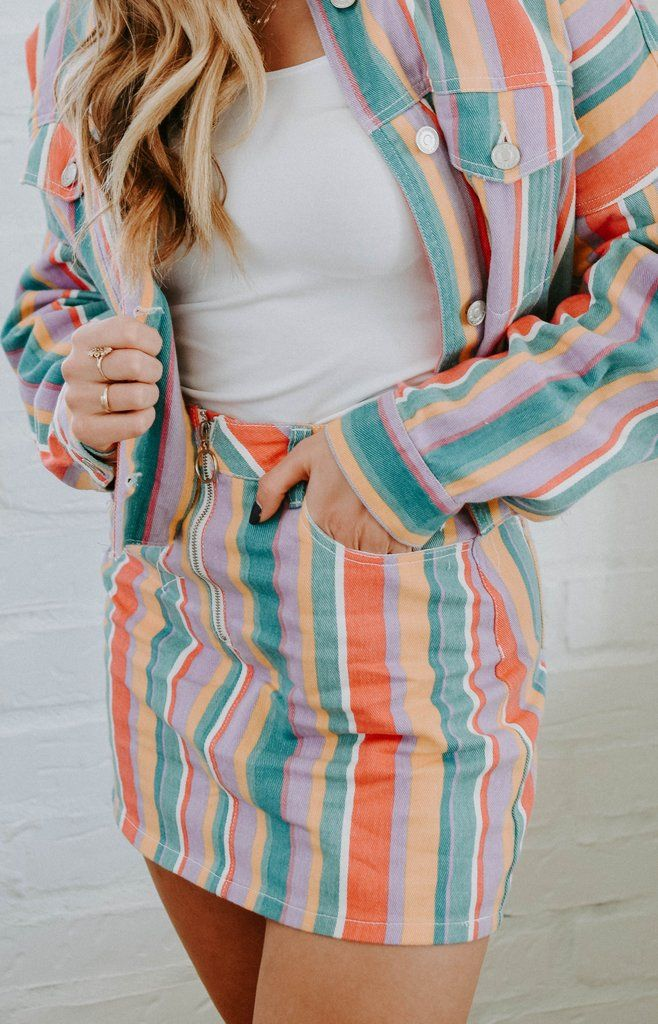 12690cc6da Retro Striped Denim Skirt in 2019   Everyday Fashion   Denim skirt, Skirts,  Denim