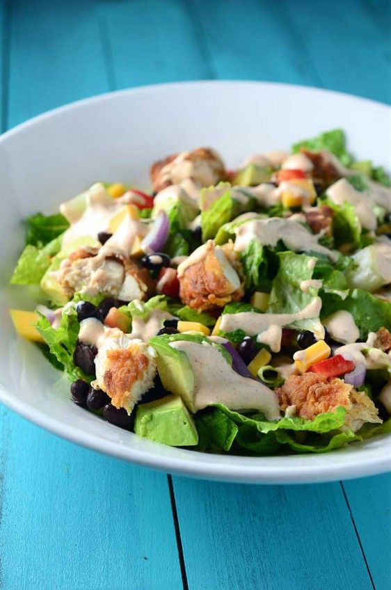 A hearty salad chock-full of crispy chicken, cheddar cheese, black beans and avocado.
