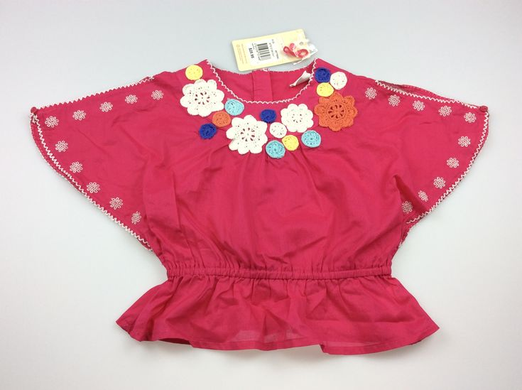 Jack & Milly, girl's pink summer top with crochet flowers, brand new with tags (BNWT), size 1, $12 #girlsfashion #kidsfashion #JackandMilly