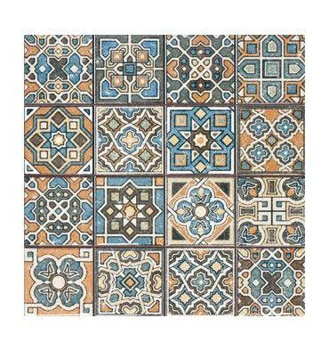 Marockanskt kakel på kakelmonster.se | RETRO-4x4 DEC MIX 31.6x31.6