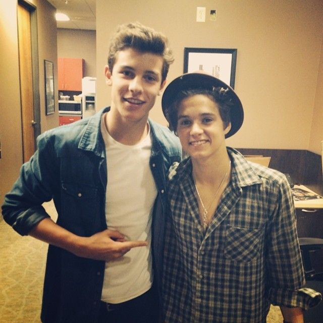 "Brad and Shawn!!!!! Two fav boys in one pic!! I don't even know where to pin this!! ""Shawn Mendes"" or ""The Vamps""!?!"