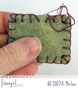 Tutorial: Hand sew felt using blanket stitch. This post contains two tutorials involving the blanket stitch: how to sew two pieces of felt together, and how to sew an edging.