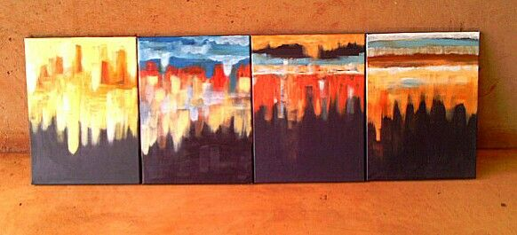 Waterberg District, Bushveld winter skies  in acrylics on canvas each at 40 ×30 CM respectively.
