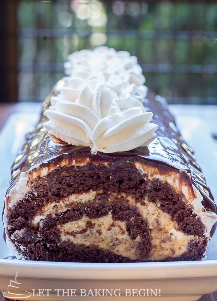 Chocolate Roll with Walnuts & Dulce de Leche Buttercream – You're going to love how rich and chocolaty this roll is! by LettheBakingBeginBlog.com   @Letthebakingbgn