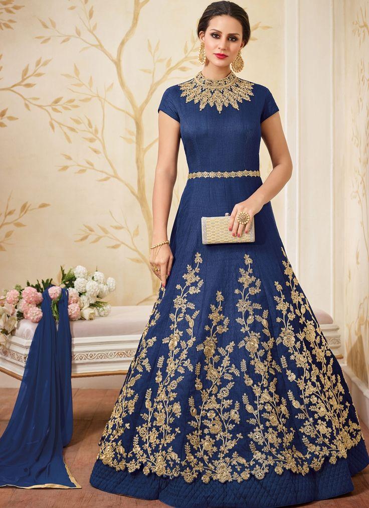 Buy Blue Mastani Silk Designer Anarkali Suit Online
