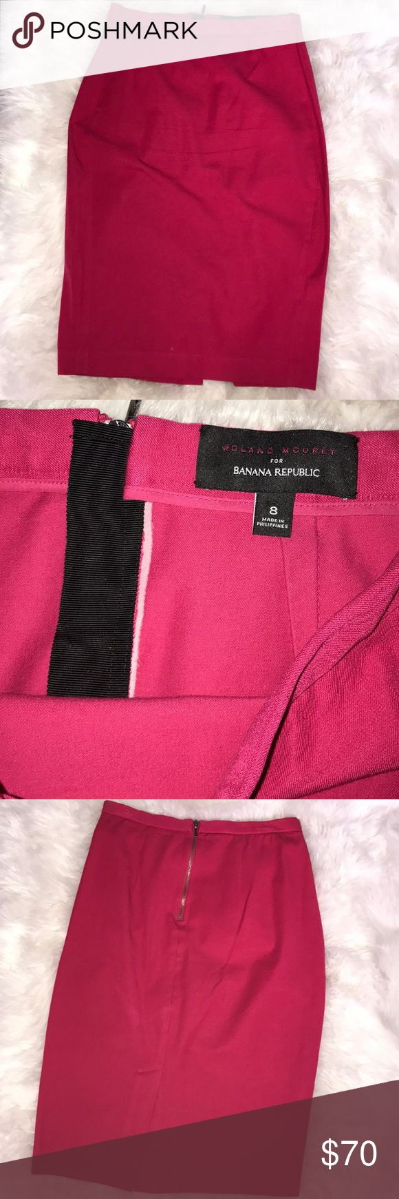 Banana Republic Hot Pink Pencil Skirt Roland Mouret for Banana Republic Hop Pink pencil Skirt. Perfect for work . Pre owned in excellent condition.  Size 8 | Banana Republic Skirts Pencil