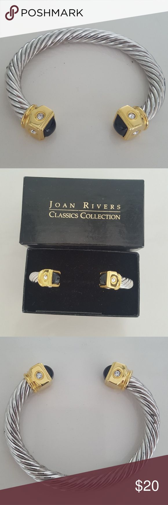 Joan Rivers Two Tone Cable Bracelet Black Stone Never worn. This is in original Joan Rivers case. Joan Rivers Jewelry