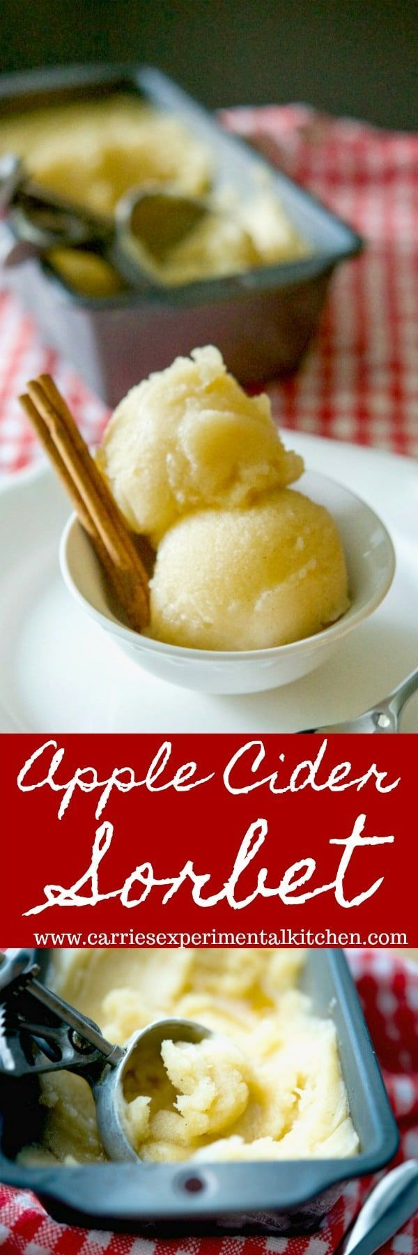 Turn your favorite Fall drink into a tasty, sweet dessert with this Apple Cider Sorbet. All you need are four ingredients and an ice cream maker.