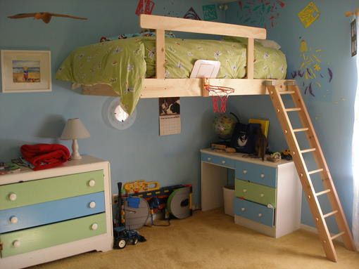 So cute for a kids room! I don't think I'd have the loft on the wall like that, maybe more like a split level room but I like the colors & dressers. :)