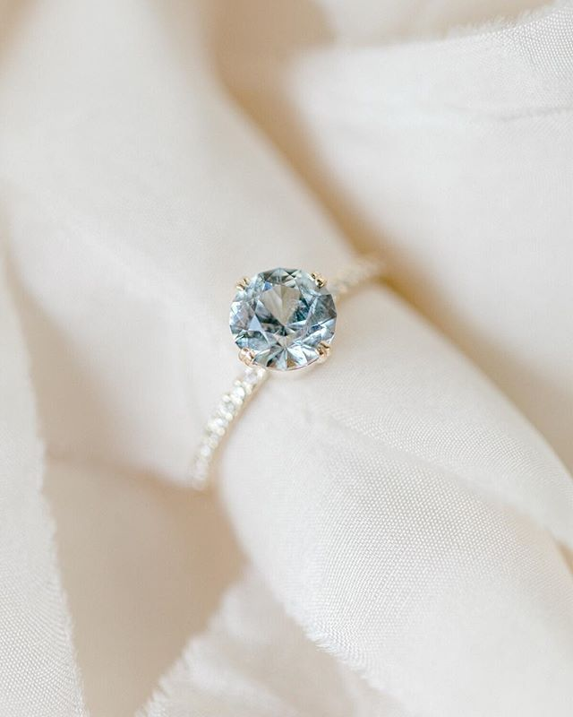 New One Of A Kind The Meadow Ring Features A Sparkling 1 8ct Unheated Ice Blue Aquamarine Engagement Ring Engagement Rings Sapphire Vintage Engagement Rings