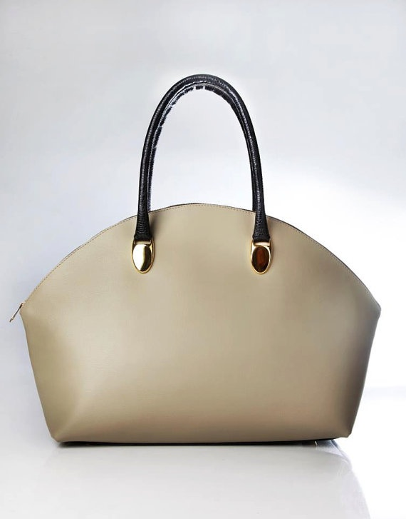 Cream Poise Leather Purse Bag by Poisebags on Etsy, $195.00