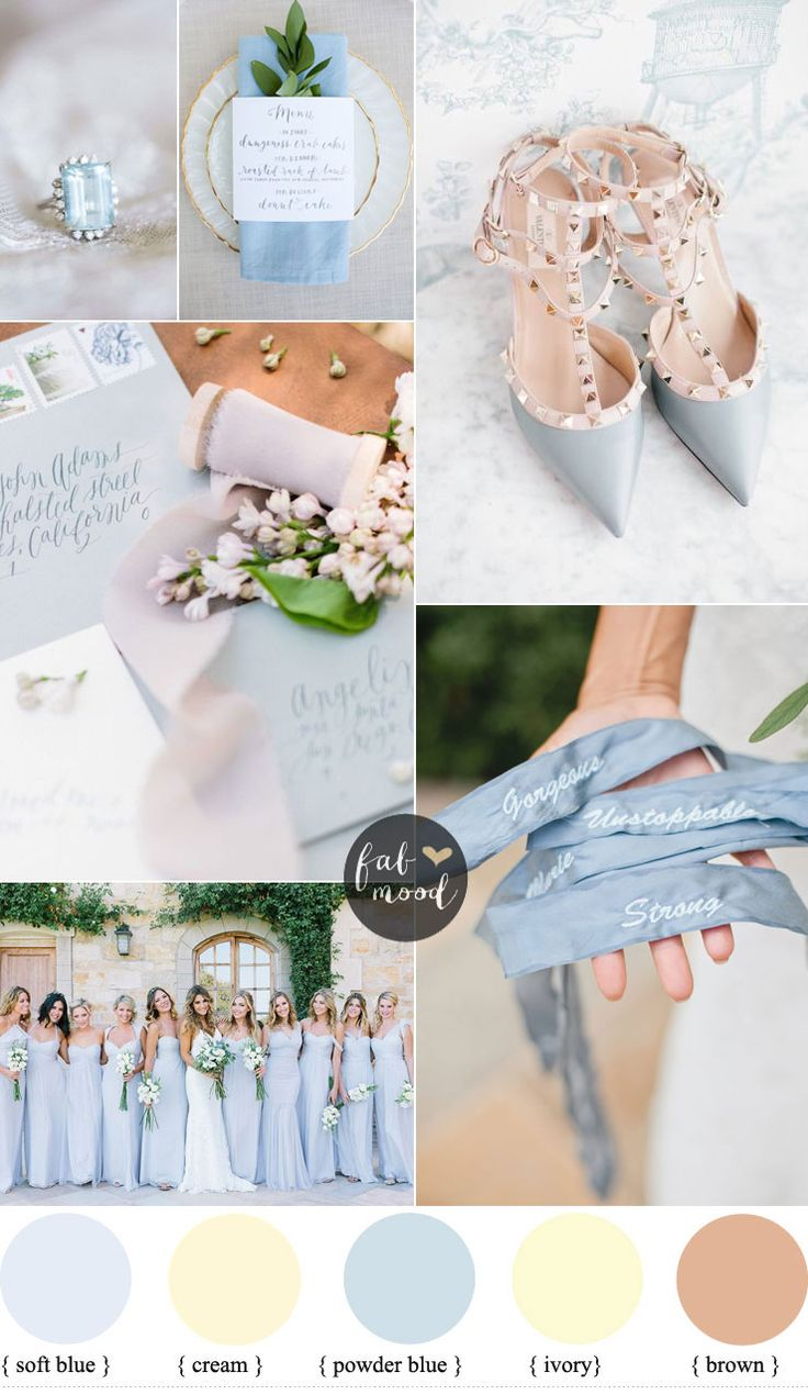 Brown Powder blue and cream wedding colours for classic brides | fabmood.com #weddingcolors
