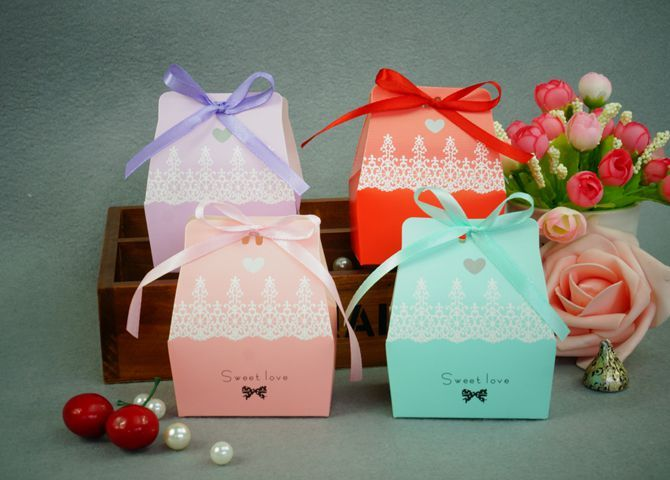 50pcs Wedding Candy Box With Ribbon Weding Decpration - Wedding Look