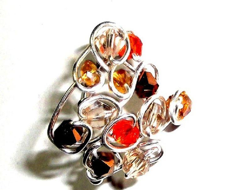 anello in metallo placcato argento e swarovski