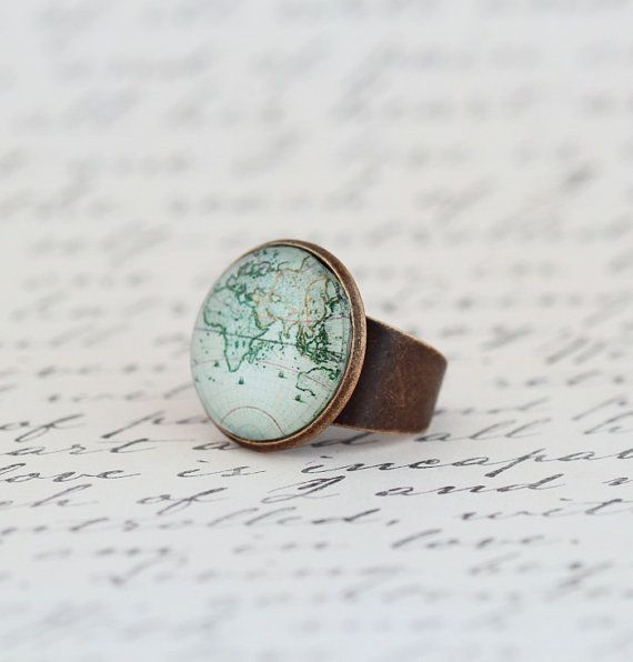 8 best travel inspiration images on pinterest world maps maps and statement ring world map map ring womens gift travel gift gift for traveler map jewelry travels adventures gift for mom gumiabroncs Image collections