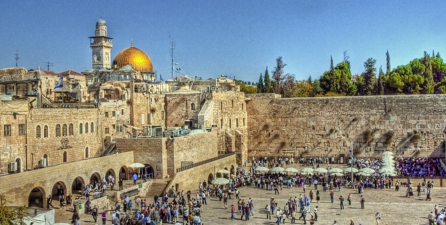 """The wailing Wall and the Temple Mount - Jerusalem    The West, or """"wailing"""" Wall is a most sacred site in Judaism, and the Temple Mount, which contains the Mosque in the background is one of the most important sites in Islam, as well as Judaism.  An interesting place indeed!"""