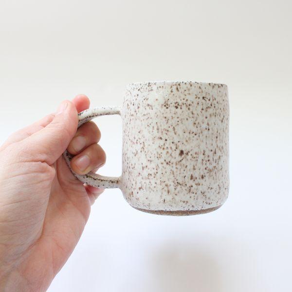 Mini ceramic mug in speckled white - RENNES