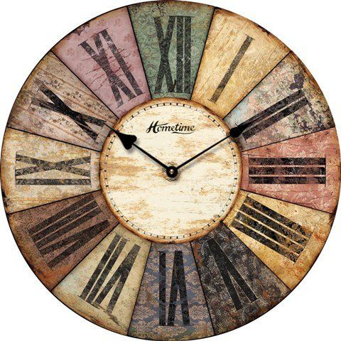 OROLOGIO DA PARETE DESIGN HOMETIME SHABBY RETONDO MULTICOLORE NOSTALGIA - Tinas Collection: Amazon.it: Casa e cucina