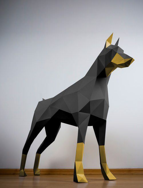 Shop our collection of Papercraft Animals like this beautiful black and gold dog.