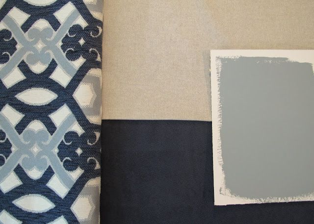 slate blue master bedroom walls   Master Bedroom Fabric and Paint Color Palette {The Creativity Exchange ...