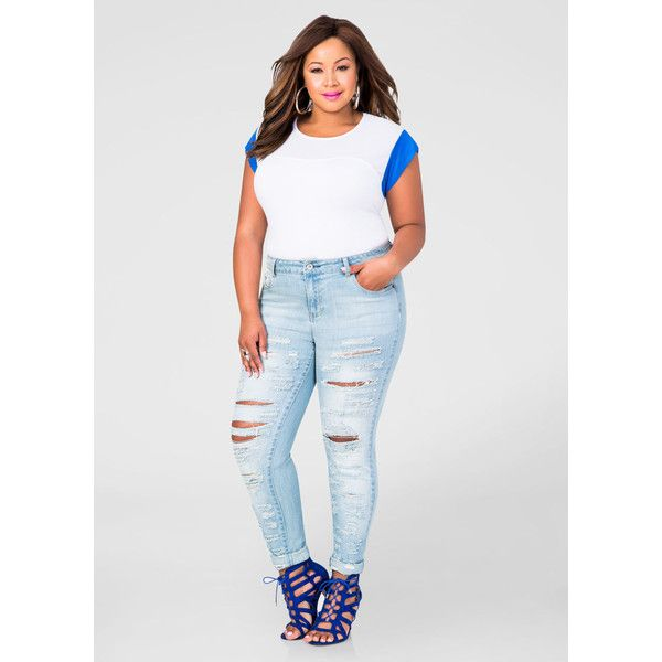 White cut up skinny jeans plus size – Global fashion jeans collection