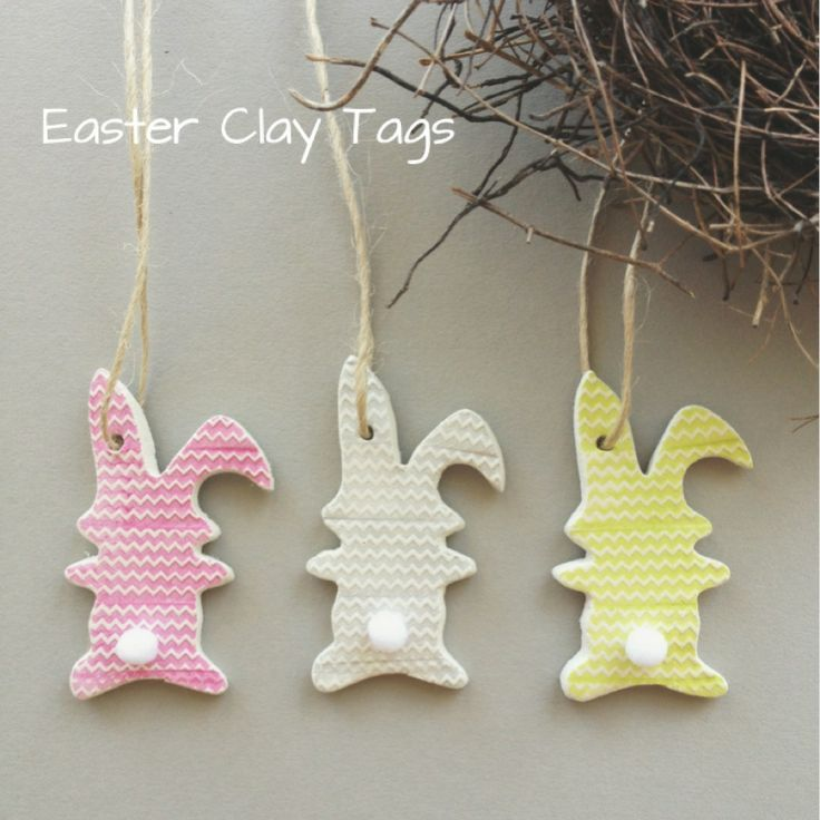 Hop Hop Hippity Hop!  mmm, cute or mischievous are these little bunnies?    A gorgeous little Easter gift.    Set of 3 - one of each colour.. pink, silver, lime each with an adorable little white pom pom tail  Each measures approx. 6x3cm    my adorable mud tags can be used to tie to your gift wrap on a special gift  adorn a gorgeous table setting..tie around napkins & cutlery  tie around vases, candles, jars & bottles  hang & decorate your nest!     each tag is individually handmade with…