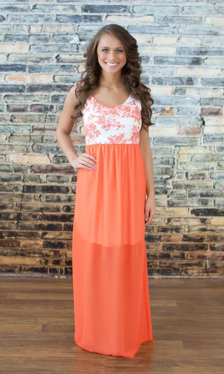 The Pink Lily Boutique - One and Only Coral Maxi, $38.00 (http://thepinklilyboutique.com/one-and-only-coral-maxi/)