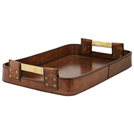 this tray from the andres collection is constructed of thick, high quality buffalo hide with hand-stitched detail and antiqued brass buckles. our andr