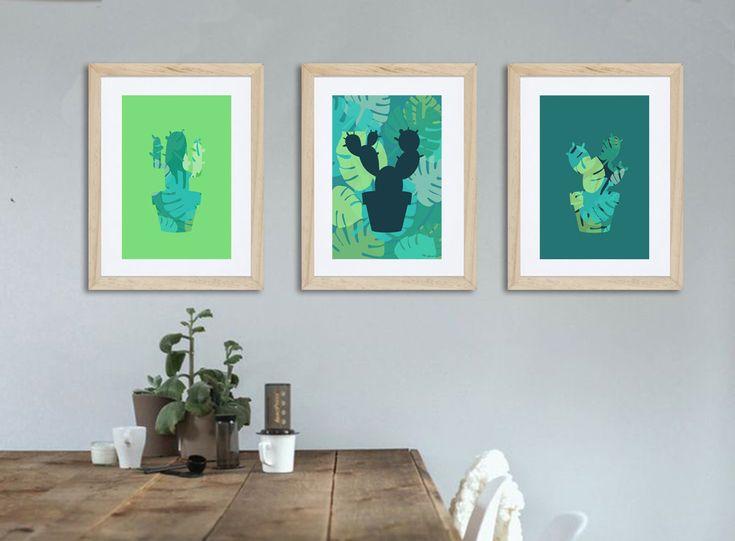 3 affiches cactus avec motif Jungle tendances, déclinaison de verts de la boutique alexiableu sur Etsy