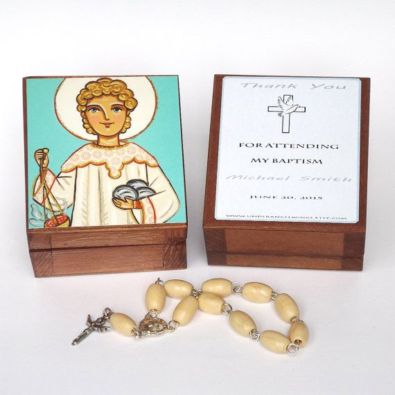 Saint Stephen box St Stephen box Steven Steve Personalized christening gifts Boy baptism favors First communion favors Christening favors