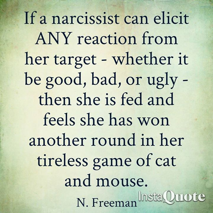 Narcissist's abuse behind closed doors. Only the victim see's the Narcissists true colours. The Narcissists provokes, antagonises, and causes havoc to their victim(s). The Narcissist's motive is to get a negative reaction from the victim(s) especially if there is an audience around them, so they can use the victim's reaction against them, and inform everyone that they are the real victim, and they need protection. Narcissists are the ultimate crooks.