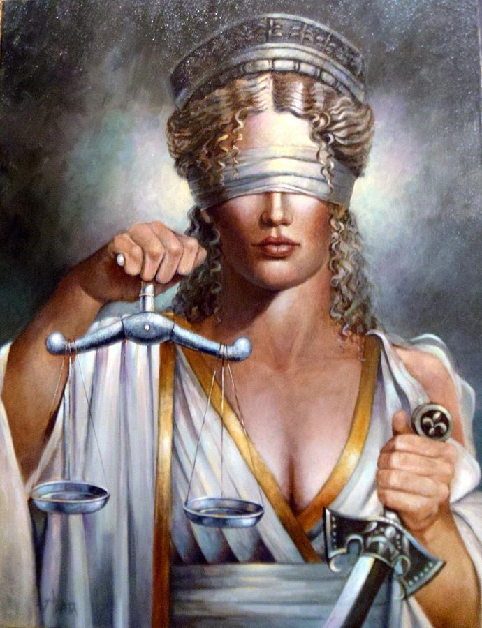 Lady Justice depicts justice as equipped with three symbols: a sword symbolizing the court's coercive power; a human scale weighing competing claims in each hand; and a blindfold. Description from pixels.com. I searched for this on bing.com/images