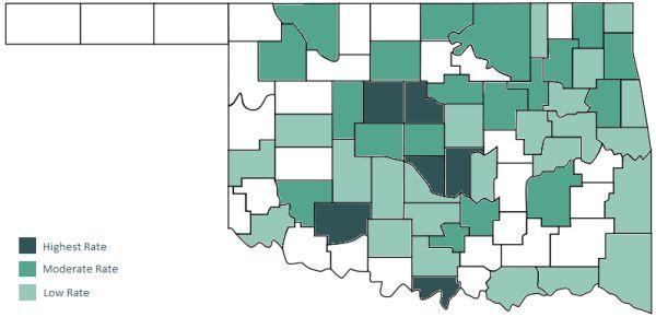 Map of Alcholism Across Oklahoma