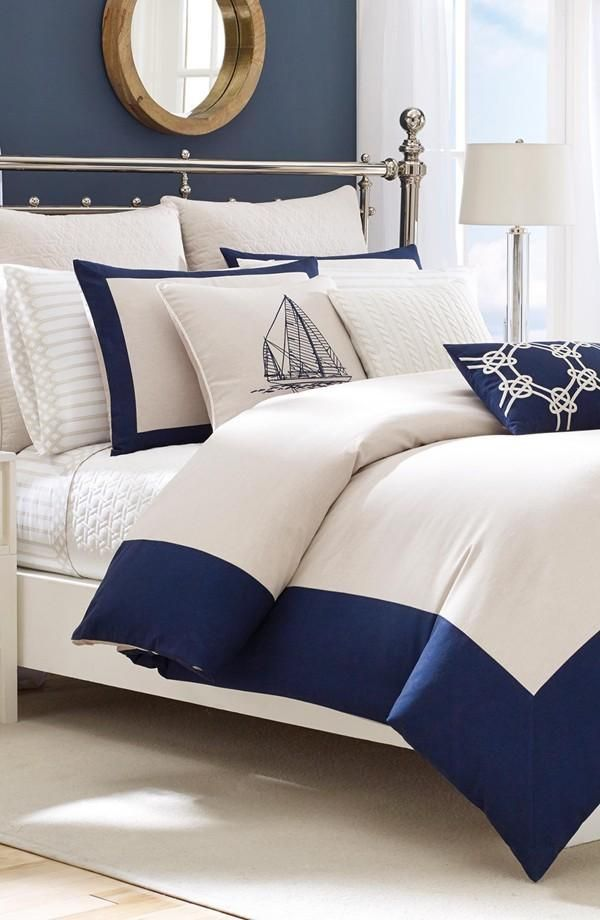 Nautical vibes for the bedroom | White and navy Nautica bedding