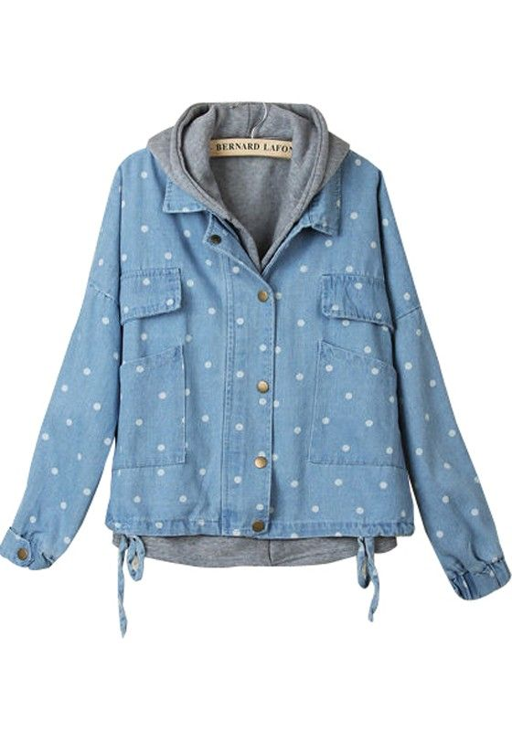 Blue Hooded Drawstring Two-Pieces Denim Padded Coat