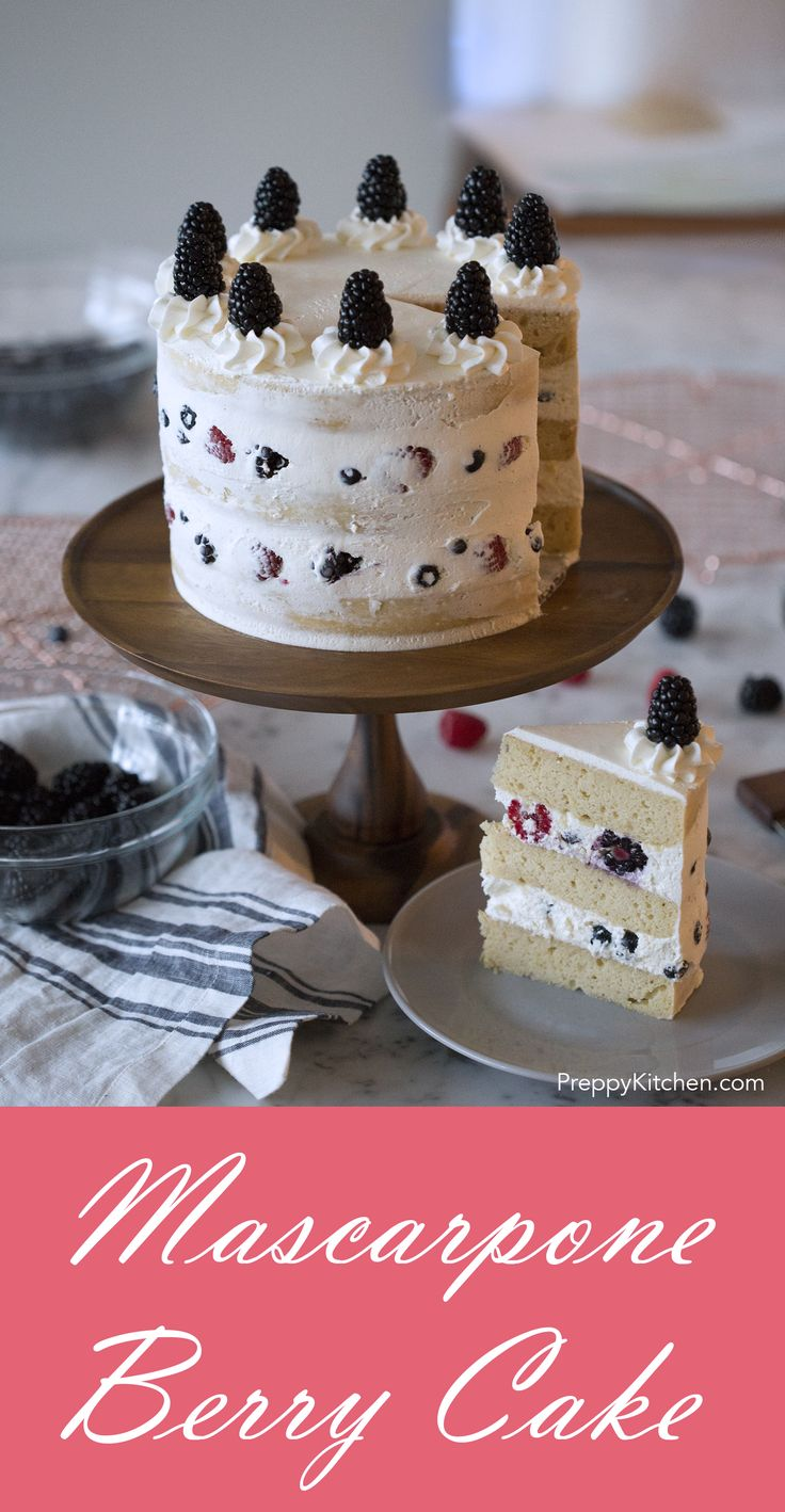 A dreamy honey yogurt cake filled with mascarpone cream and berries.  via @preppykitchen