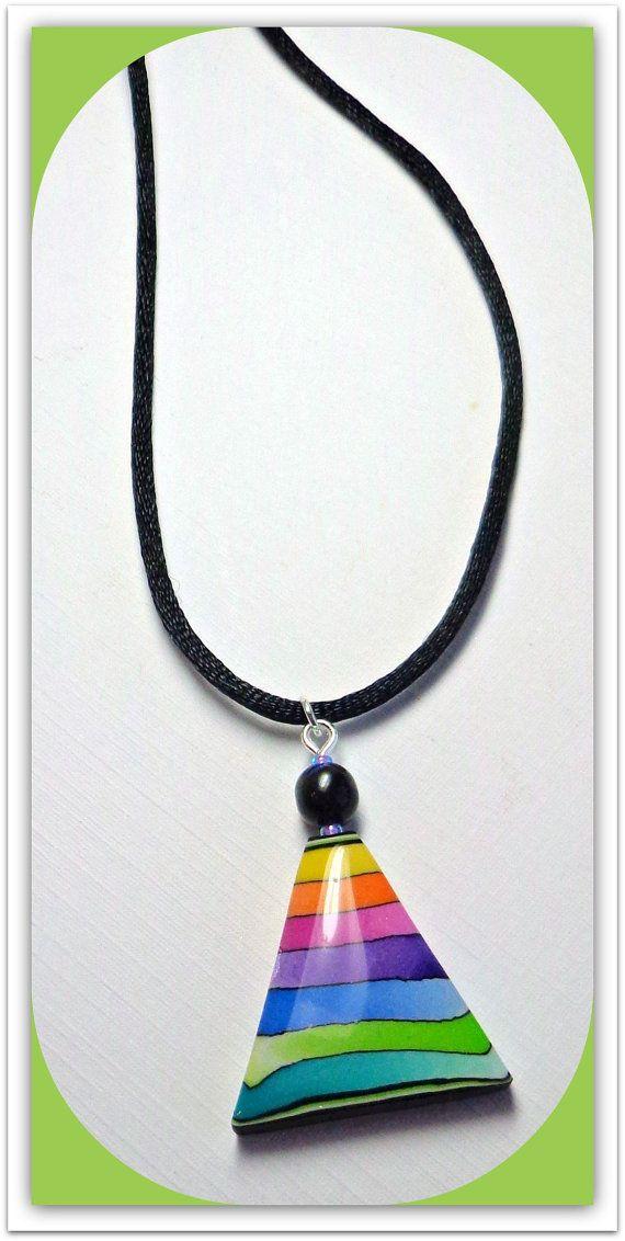polymer clay Jewelry Rainbow Triangle Pendant by BeadazzleMe, $16.00