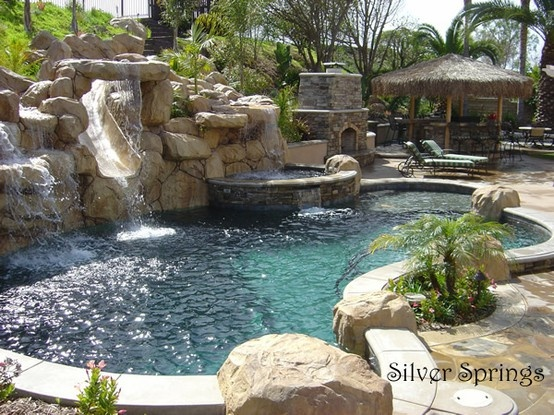 88 best images about pool ideas on pinterest swimming for Beautiful swimming pools with waterfalls