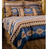 Sierra Blue Southwestern Bed Ensemble Set King - Bedroom Linens Ready Made Bed Sets - West by Southwest Decor