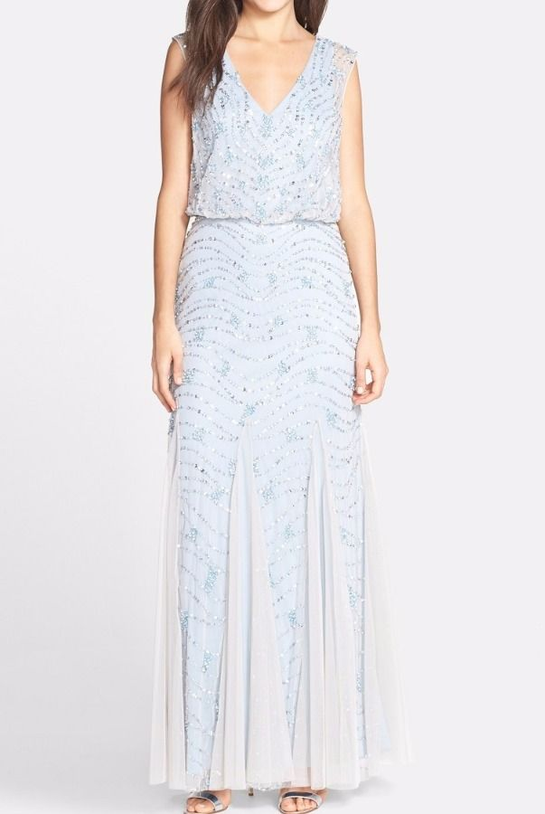 Aidan Mattox Beaded Silver Blue Embellished Blouson Dress Gown